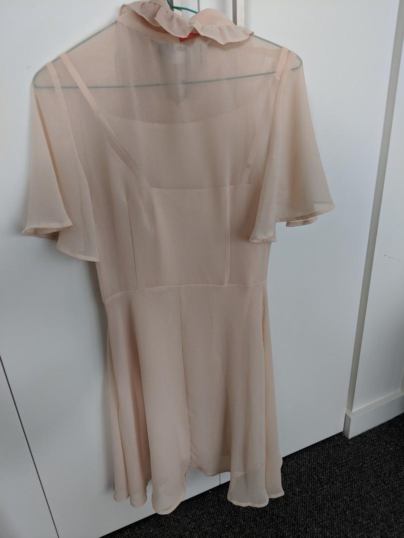 Asos - lolita ruffled peachy nude front bow skater dress