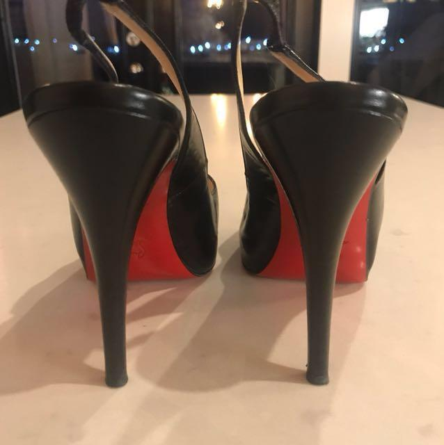 Authentic Christian Louboutin black slingback peep toe heels