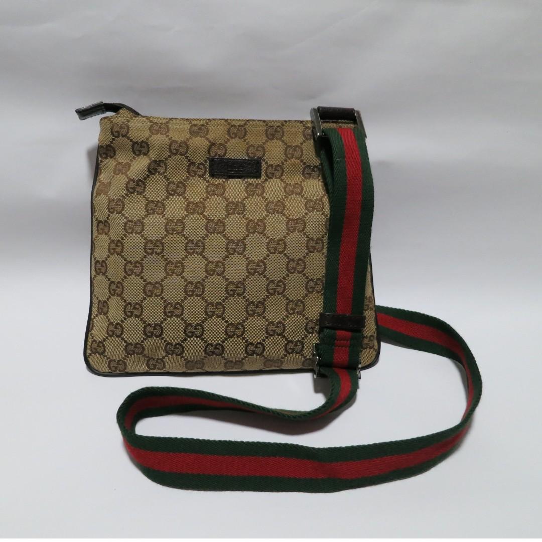 96ac089882f Authentic Gucci Classic Monogram Small Web Messenger Sling Bag ...