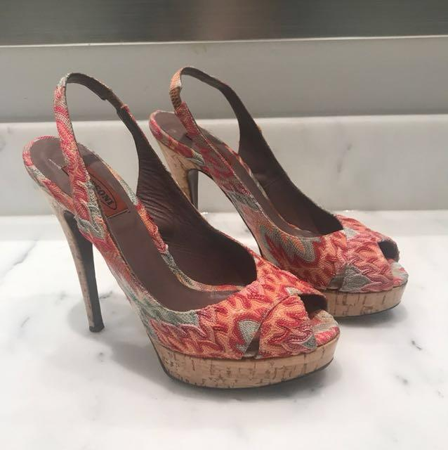 Authentic Missoni peep toe pumps