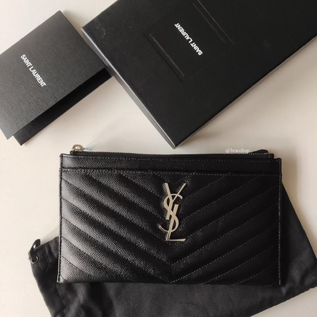 3d4aba80f9 Authentic Ysl Yves Saint Laurent Monogram Bill Pouch In Grain De Poudre  Embossed Leather, Luxury, Bags & Wallets on Carousell