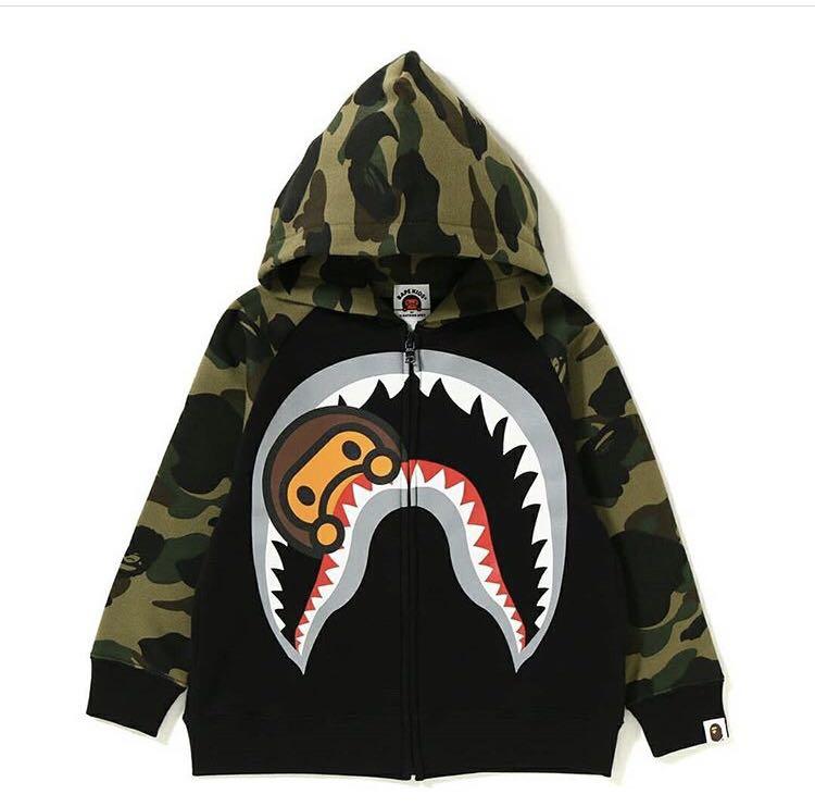 cf25eb04 Bape kids 1st camo milo shark zip hoodie, Babies & Kids, Boys ...