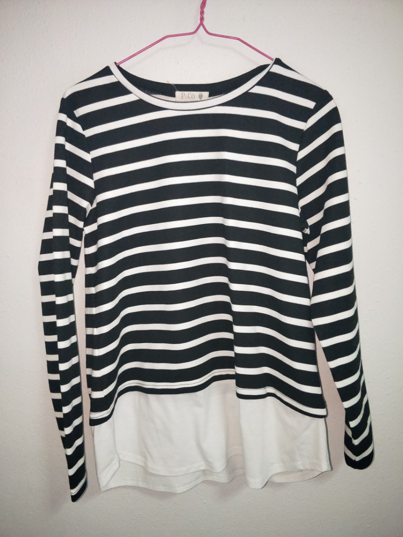 ab34c8e060 Black White Striped Long Sleeve Ulzzang Fake Two Piece Pullover Sweater  Oversized
