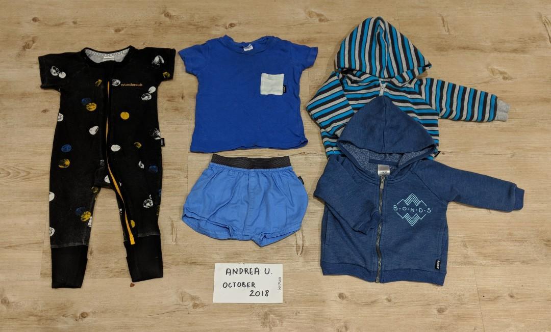 BONDS Baby Boys Clothes Bundle Size 00 (3-6 Months)