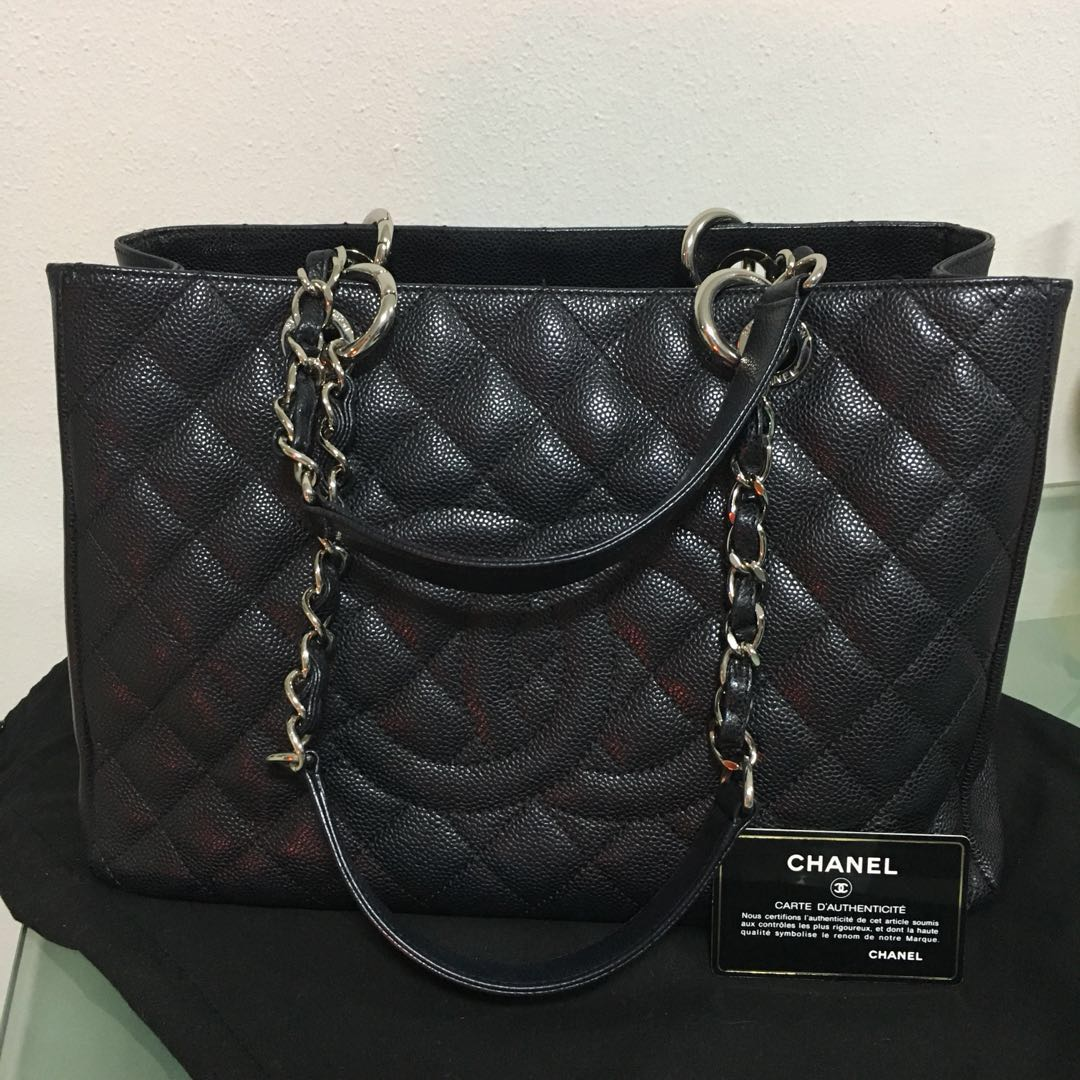 ffa0cf6d4aa0 Chanel Black Caviar Grand Shopping Tote, Luxury, Bags & Wallets, Handbags  on Carousell
