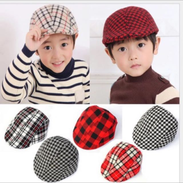 Classical England Style newsboy caps Boy beret hat Baby Children Kids Plaid  berets hat Cool Flat Beret Hat Sun Cap 4bab838cdb7