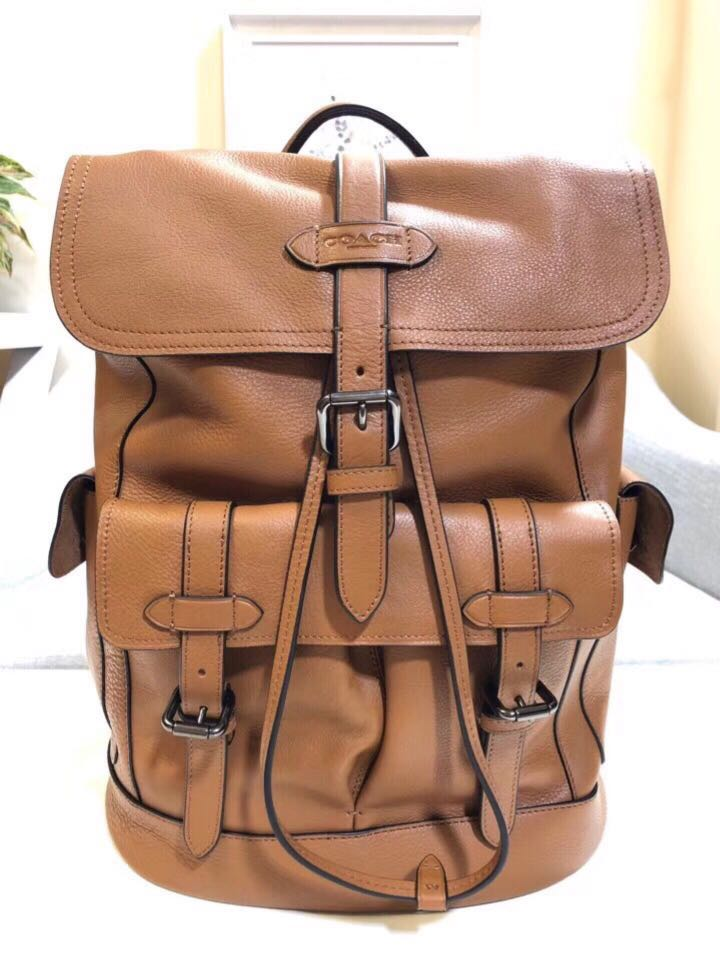 Coach F23202 Men s Hudson Backpack Natural Smooth Leather- Brown ... 14fd58444a228