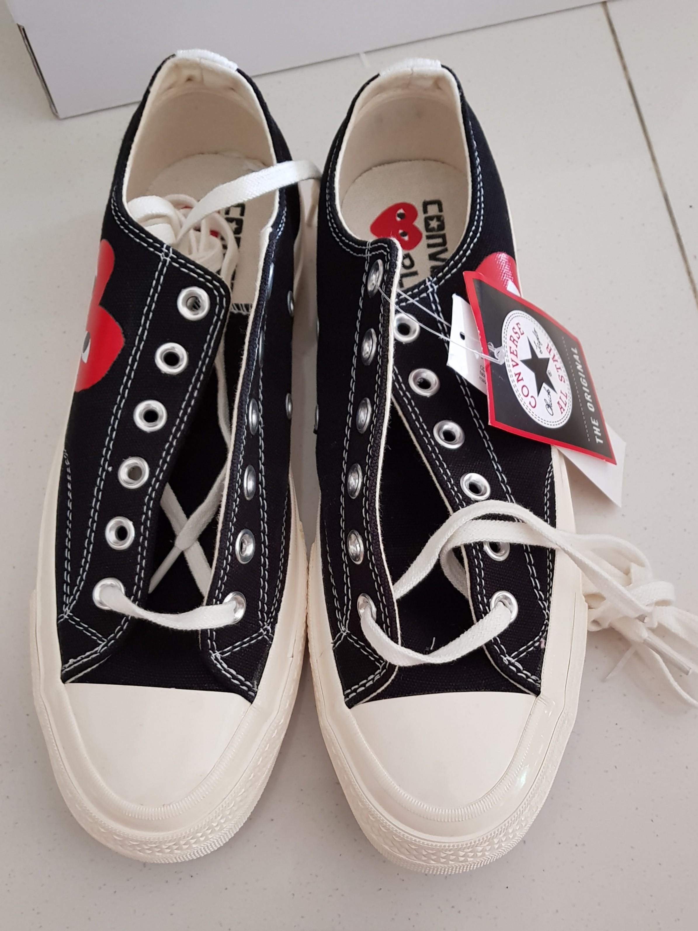 cdg converse black low top