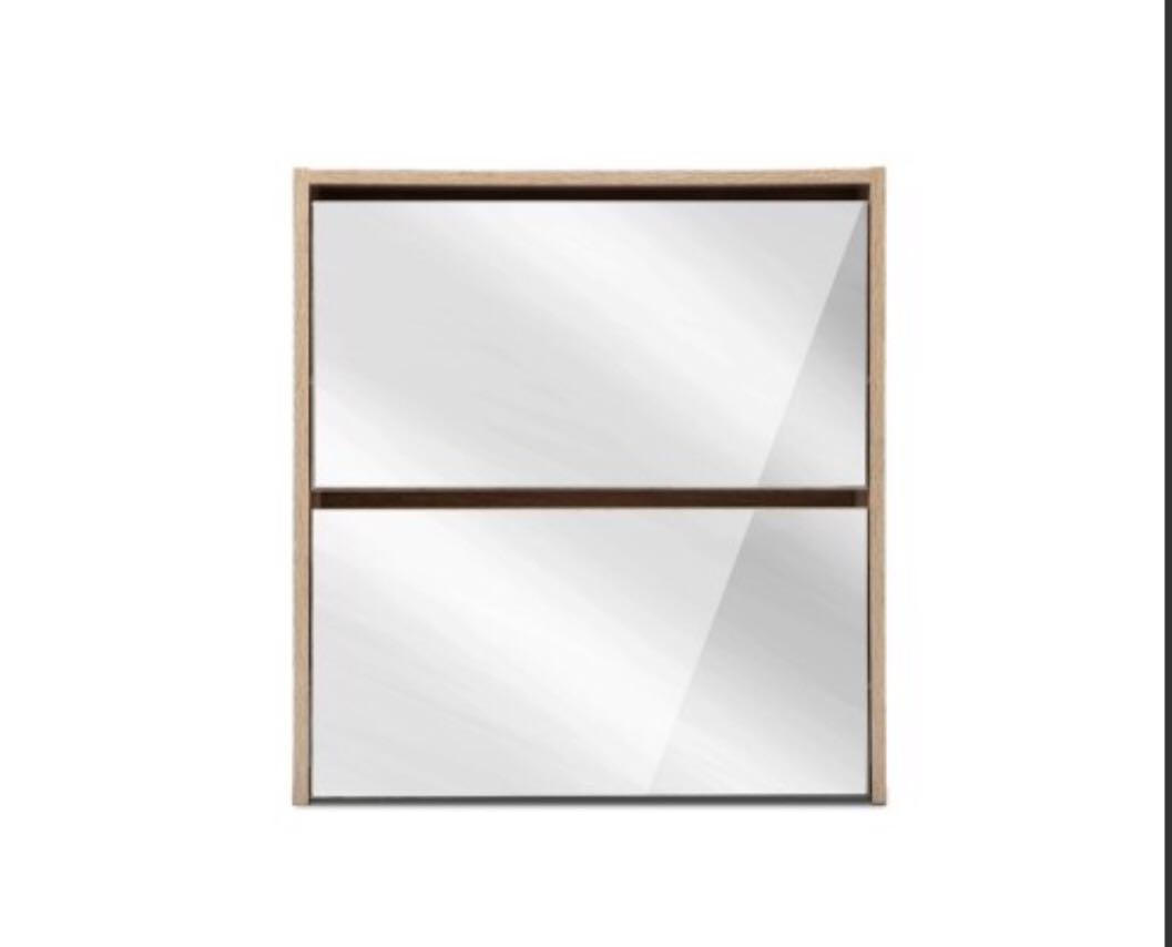 Elliot 2 Tier Mirrored Shoe Cabinet