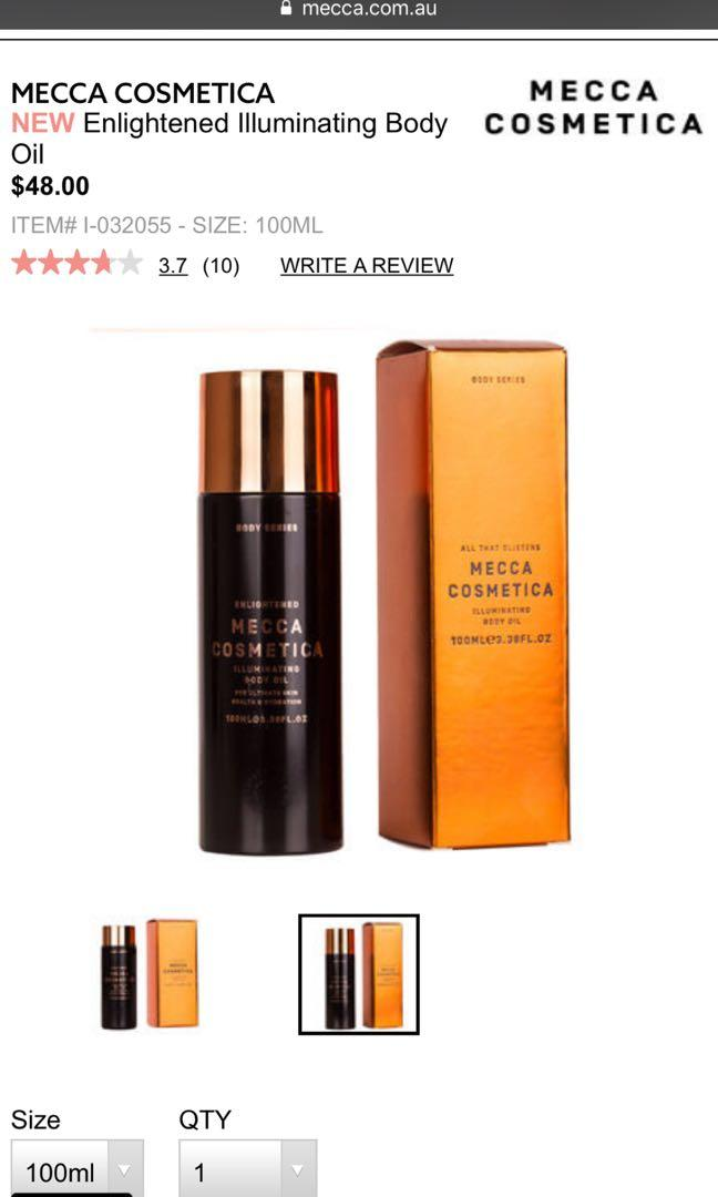 Mecca Enlightened Illuminating Body Oil 100ml retail $48