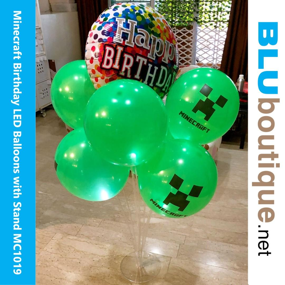 MINECRAFT LED BALLOONS WITH STAND (limited sets) Minecraft