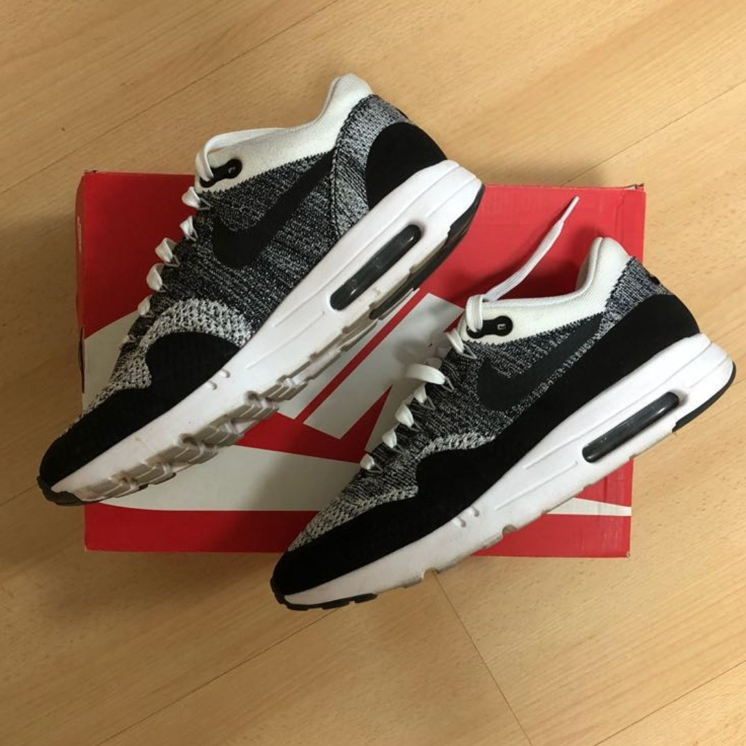 uk availability 03833 f7873 Nike Air Max AirMax 1 Ultra Flyknit Oreo US 10 Black White, Men s ...