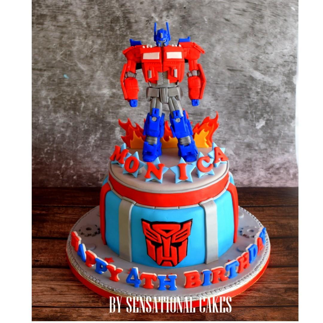 Strange Optimus Prime Transformers 3D Custom Boy Theme Cake Singaporecake Funny Birthday Cards Online Alyptdamsfinfo