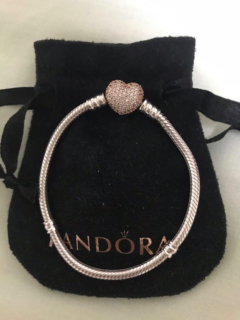 Pandora 16cm Pandora Silver Bracelet with Rose Pave Heart Clasp Authentic