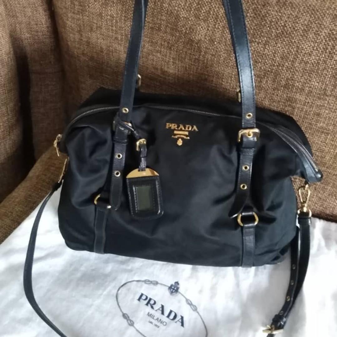 fea42b380346 Prada Tessuto Saffian Nylon and Leather Shopping Tote Bag BR4253 ...
