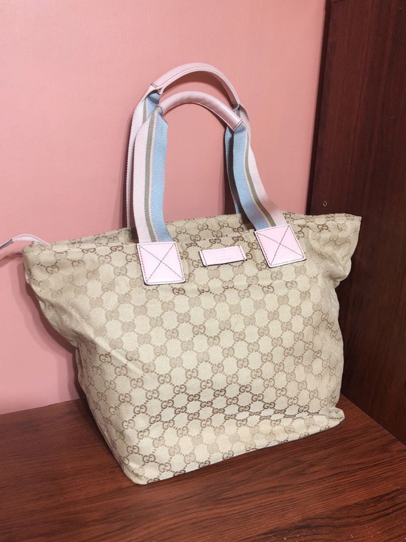 0fb53be6b4b1 Preloved Authentic Gucci Beige & Pink Tote Bag, Luxury, Bags ...