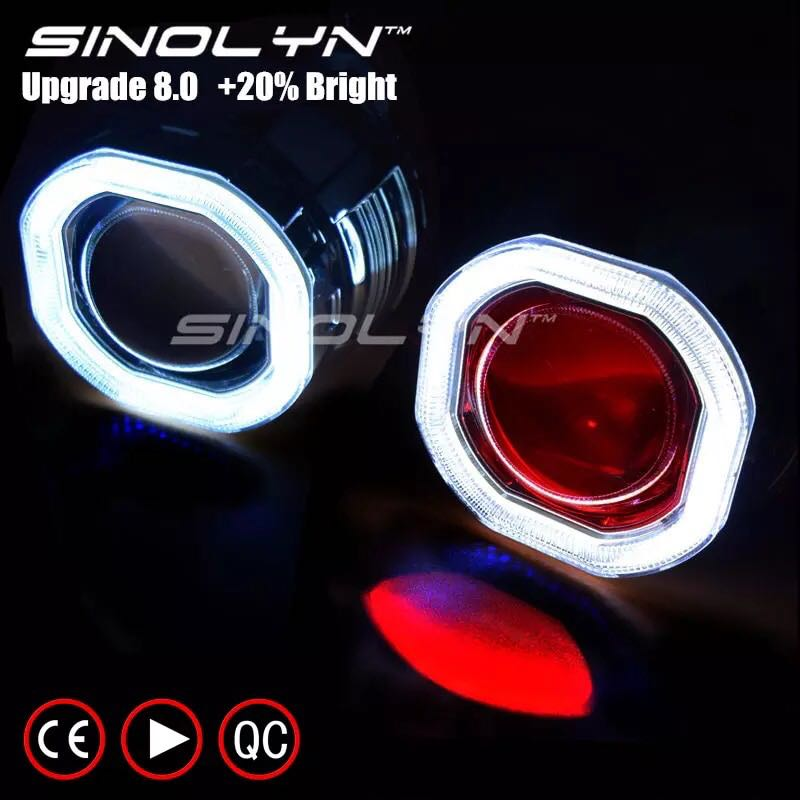 Sinolyn Led Angel Eye Halo Hid Car Projector Lens Headlight Car