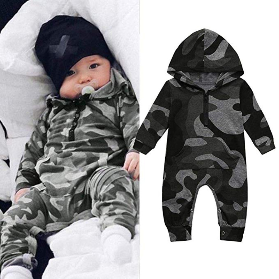 8fdda2ddbe275 ✔️STOCK - GREY ARMY CAMOUFLAGE PJ PANTS JUMPER WITH HOODIE HAT ROMPER  NEWBORN TODDLER BABY BOYS KIDS CASUAL CHILDREN CLOTHING