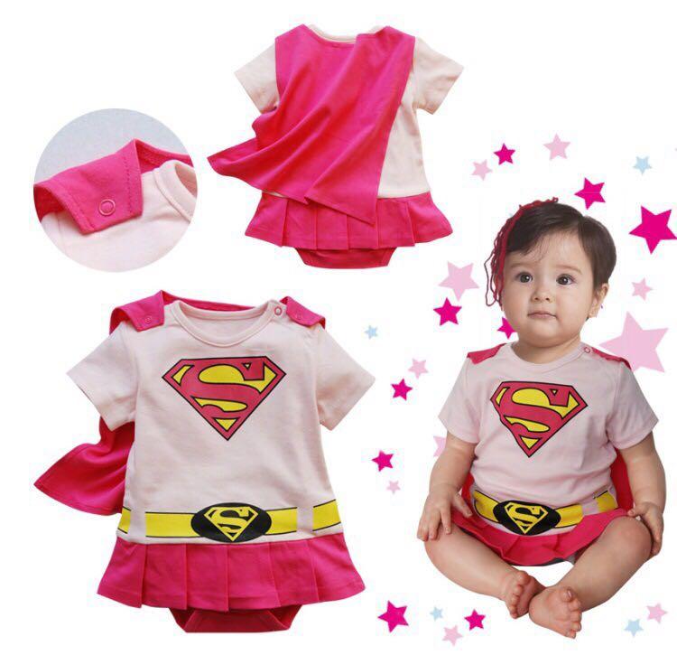 f97b08477 ✓️STOCK - SUPERGIRL PINK SUPERWOMAN NEWBORN BABY PANTS ROMPER WITH ...