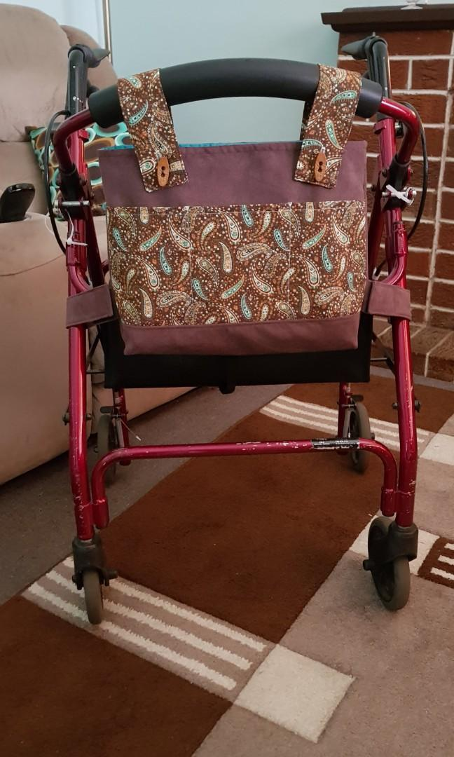 Walker bag,walker organiser, rollator bag,rollator accessory,mobility aid,assisted living,special needs,handmade,1 of a kind,gift