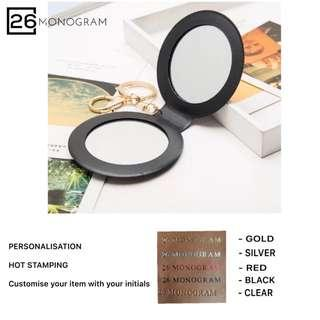 [26Monogram] Personalised PU mirror keychain Best gift idea