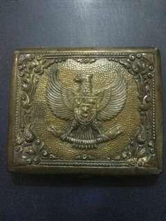 Kotak kuningan antik Lambang Garuda Indonesia