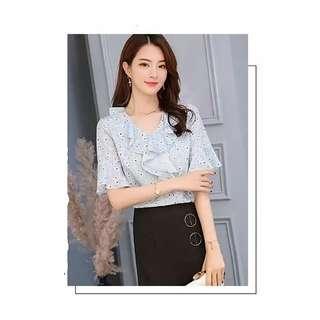🚚 #010 ruffled dandelion/flower blouse