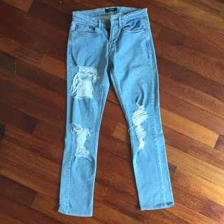 Pull&Bear Distressed Ripped LightWash Denim Pants