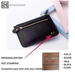 Customised Women Clutch Bag Genuine Leather Hot Stamping [ 26 MONOGRAM ]