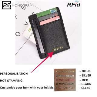RFID Customised Card holder Saffiano Leather Black Emboss Name [ 26 MONOGRAM ]