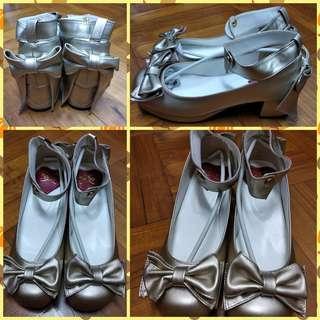 Lolita 金色蝴蝶結高跟鞋 高踭鞋 低跟鞋