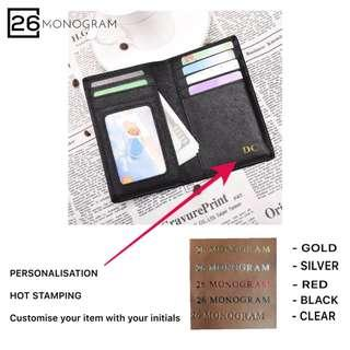 Rfid Card Holder Wallet Saffiano Leather Personalised Gift [ 26 MONOGRAM ]