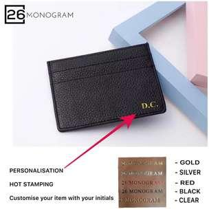 Customised Card Holder Cow Leather Thin Card Holder black Grey [ 26 MONOGRAM ]