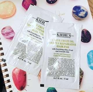 最新 Kiehl's Samples x 2包 * Olive Fruit Oil Deeply Repairative Hair Pak (5ml) * 荔枝角/何文田 MTR 交收 or +$3寄平郵