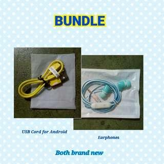 Earphones + USB Cord for Android