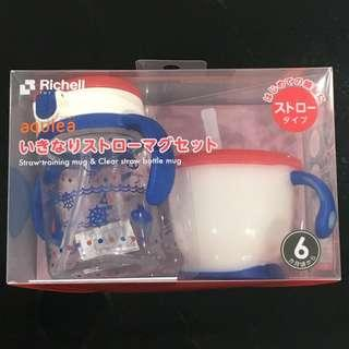 Richell Aqulea Straw Training Mug Bottle Set in Navy Blue