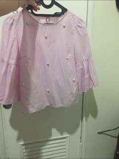 Zara Pearl Pink Blouse