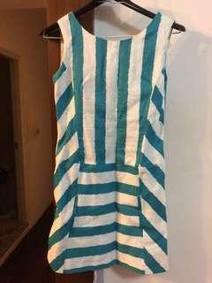 🚚 藍綠色條紋洋裝