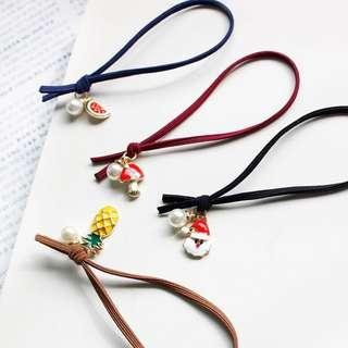 Assorted hair tie with charm (girls women hair)