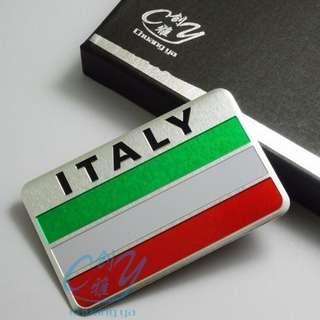 Metal Italy Italian Flag Badge Emblem Decals Sticker Rectangle