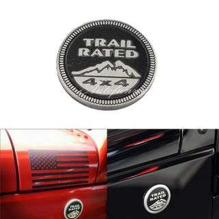 Metal Trail Rated 4X4 Badge Emblem Decal for Jeep Wrangler