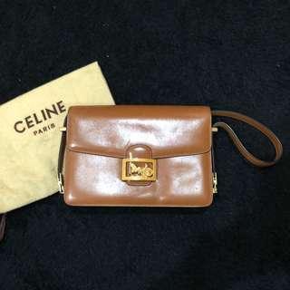 Celine vintage 3ways bag (clutch/handbag/shoulder) sz 23cm with extra strap and dustbag