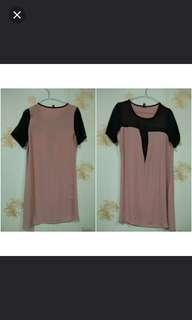 Dress pink & black cantik