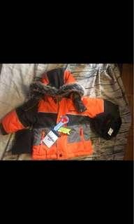 Brand new with tags Oshkosh winter coat, snow overalls, scarf and hat