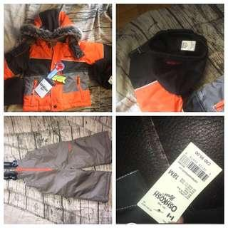 Brand new never used with tags size 18 months Warm winter coat with snow suit overalls, scarf and hat. Tags still on originally $95.00