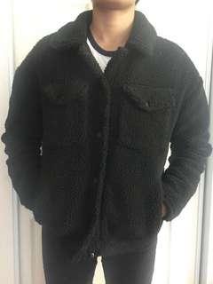 Black Faux Shearling Trucker Jacket