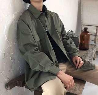 🚚 原宿風休閒復古襯衫男韓版長袖潮流外套男士簡約百搭寬鬆工裝襯衣