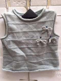 🚚 淺藍色羊毛80%尼龍20%針織背心『蒙娜麗莎童二手中性秋』