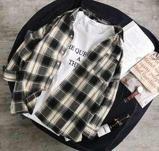 🚚 襯衫男士格子寬鬆韓版休閒個性黑白襯衣長袖潮流上衣外套