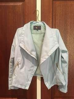 Brand new pale/baby blue faux leather jacket